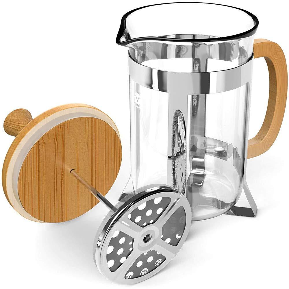 Acquisto BB&ONE, caffettiera francese da 600 ml, in legno di bambù, vetro borosilicato, spesso e durevole, resistente al calore, con montalatte adatto per casa, cucina, ufficio Prezzi offerta