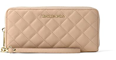 31ad0dcc9e2b Michael Kors Jet Set Travel Quilted Leather Continental Wallet Wristlet -  Bisque