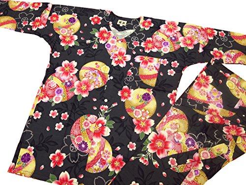 線じゃがいもまともな【まりと桜?黒】 義若オリジナルの鯉口シャツ単品 男女兼用 (M 中サイズ)