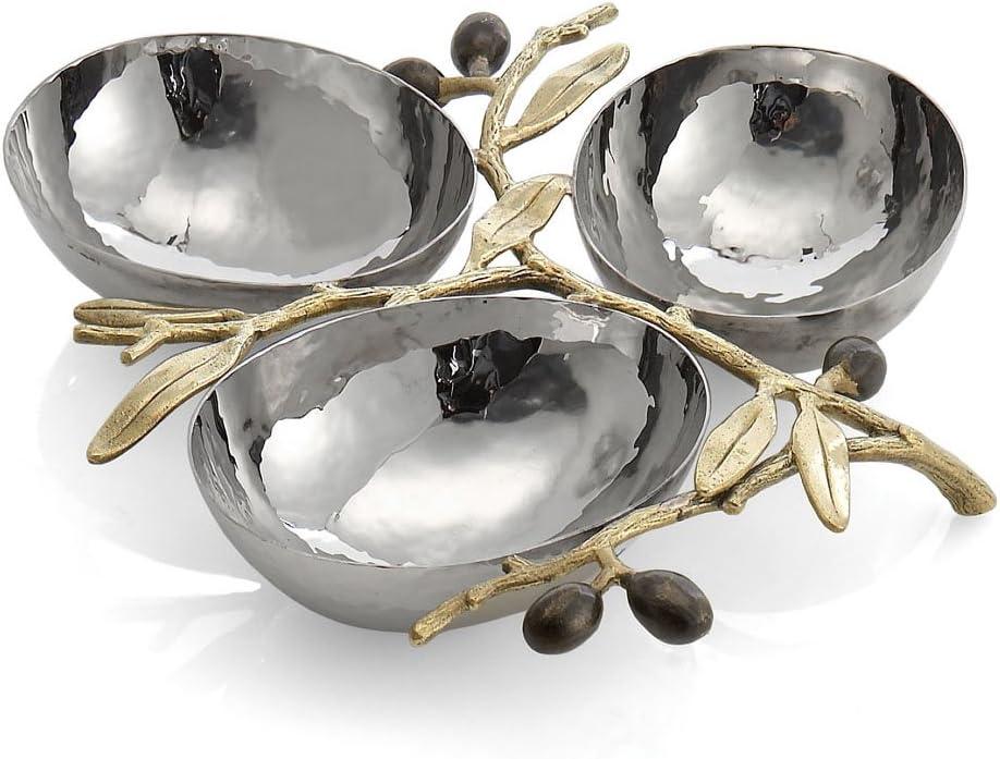 Michael Aram Olive Branch Triple Compartment Dish, Silver