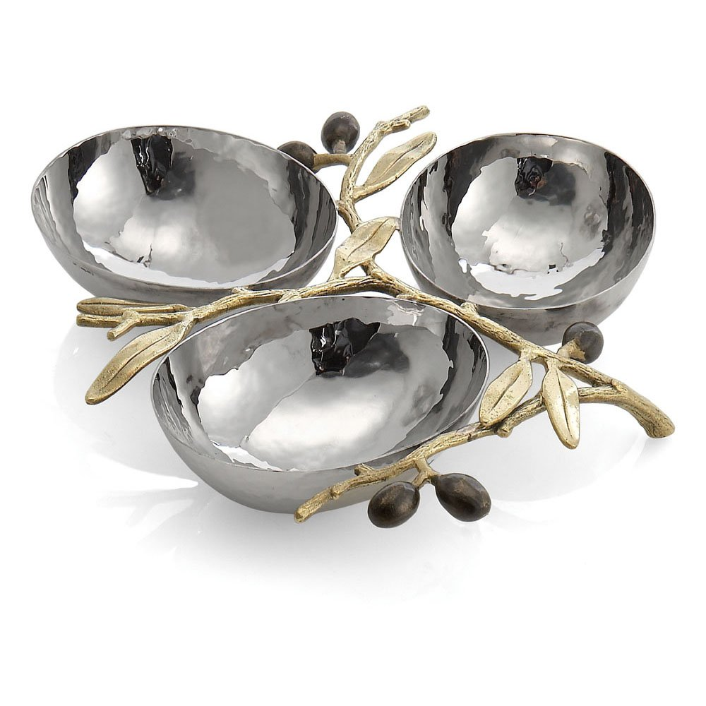 Michael Aram Olive Branch Triple Compartment Dish, Silver 175126