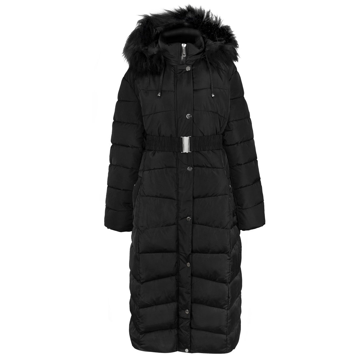 Fashion Thirsty New Womens Plus Size Long Quilted Padded Winter Coat Fur Trim Hood (US 16, Black)