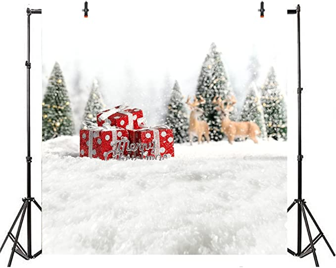 Leyiyi 10x10ft Photography Background Merry Christmas Backdrop Happy New Year Xmas Holliday Enchanted Forest Pine Snow Covered White World Magic Star Abstract Galaxy Photo Portrait Vinyl Studio Prop
