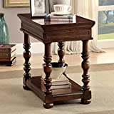 Furniture of America Dorsetta Brown Cherry Flip-Top Hidden Storage Side Table