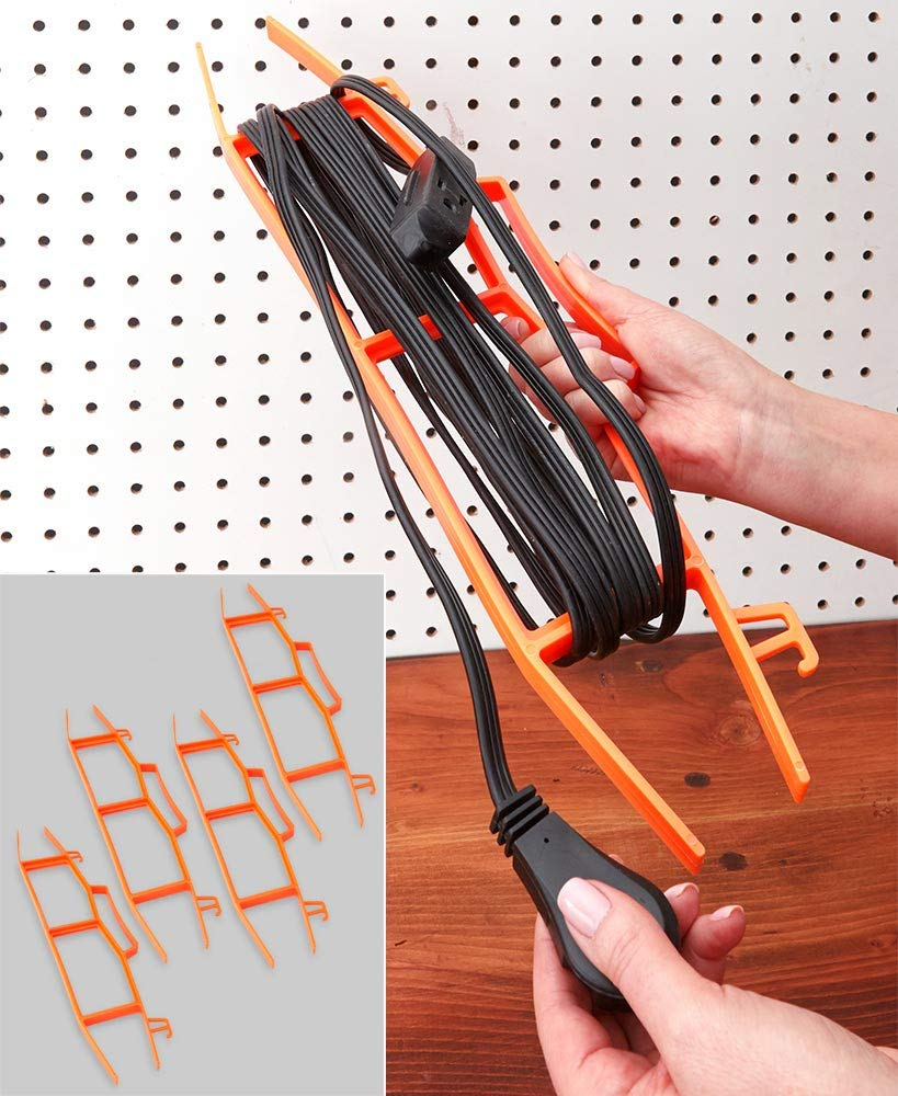 Garage Basement Tool Shed Shop Office School Home RV Each Hold Up to 150 Azi 4pc Heavy Duty Holiday Lights Garland Extension Cord Organizer /& Storage Cord Wrap Carry Hang Orange