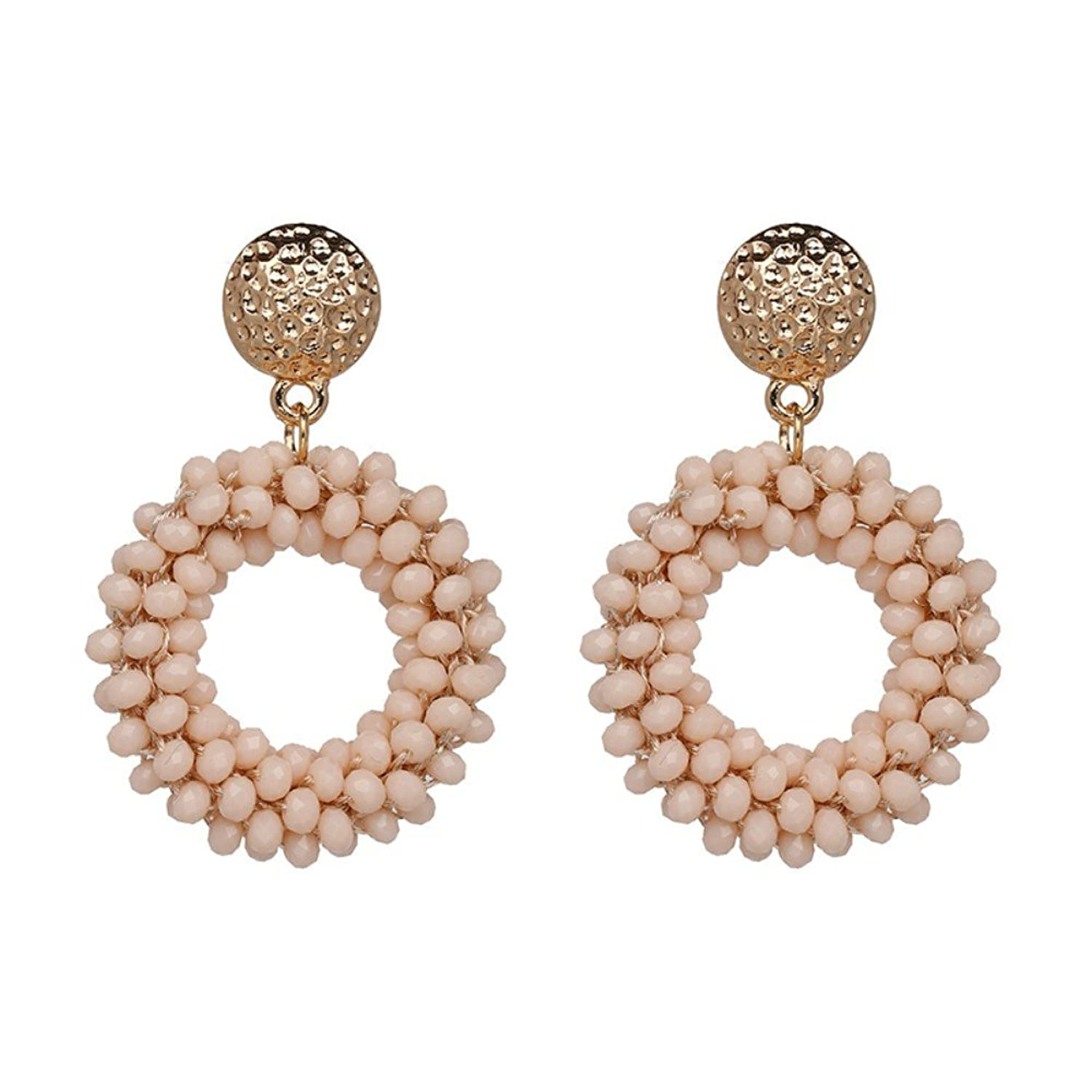 """Shanghai Chic"" Hoop Earrings - Blush Beaded"