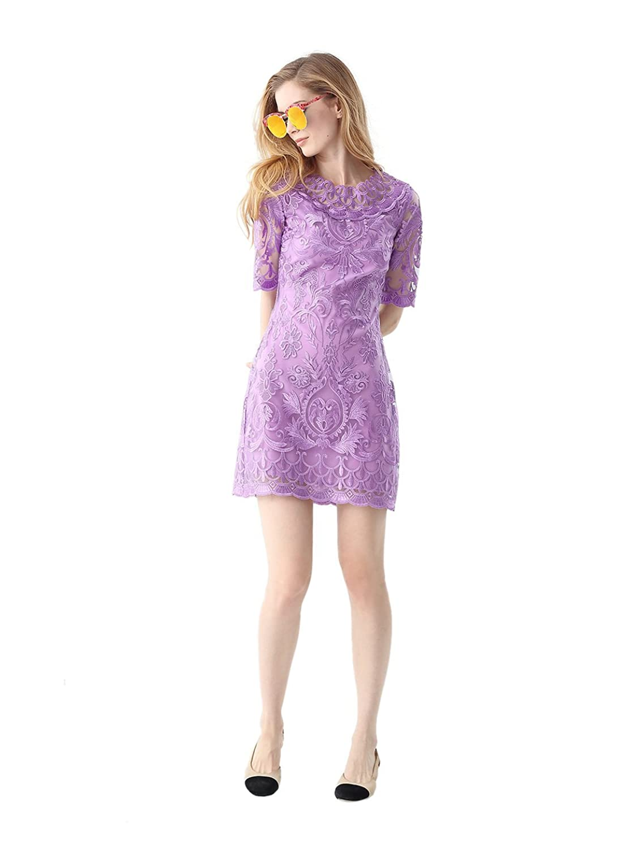 JORYAXUAN Women's Floral Embroidery Dress