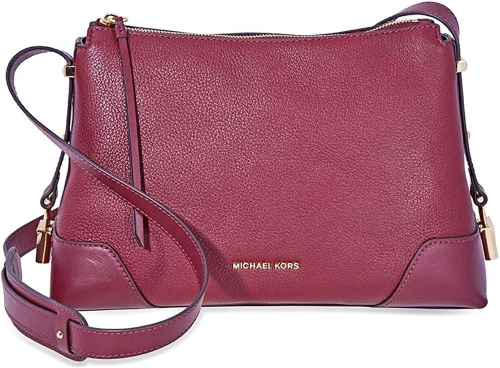 Michael Kors Crosby Medium Pebbled Leather Messenger Bag- Oxblood, Dark Red, Large