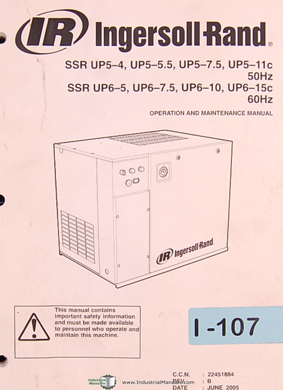 Ingersoll Rand SSR Series, Air Compressor, Operations and Maintenance Manual:  Ingersoll Rand: Amazon.com: Books