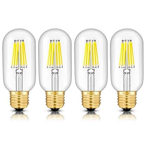 Bombilla LED Edison T45 regulable, 6 W, luz blanca cálida, 2700 K,