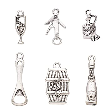 Wholesale lot bottle opener antique silver charms pendants jewelry DIY 25*20mm