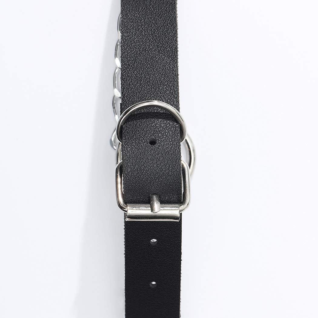 Flrora Collier en cuir Punk anneau noir pendentif tour de cou collier r/églable bo/îte de nuit colliers pour femmes et filles