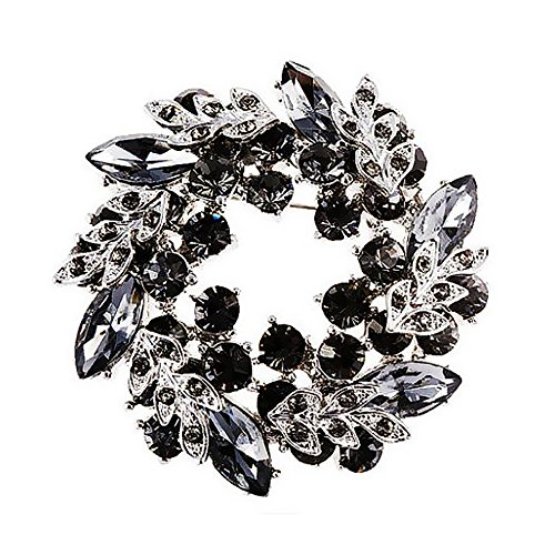 MUZHE Hoop Hollow Crystal Circle Flower Brooch Pin Wreath Corsage for Girl (Black)