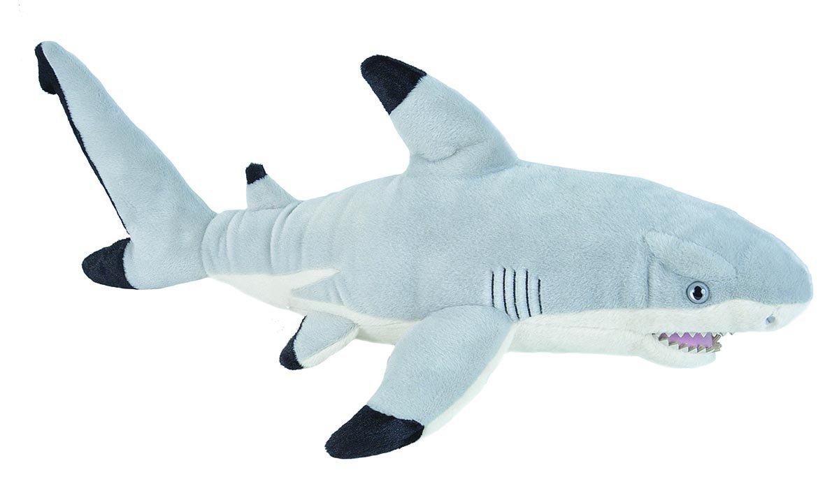 Wild Republic Black Tipped Shark Plush, Stuffed Animal, Plush Toy Gifts for Kids, Cuddlekins 20 Inches