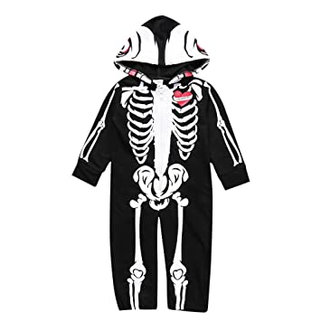 ee130d294 Amazon.com   Toddler Infant Clothes Baby Boys Hooded Skull Skeleton ...