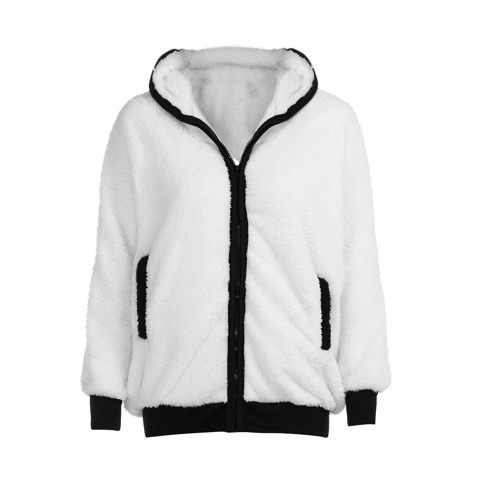 OldSch001 Womens Hooded Outerwear,Winter Warm Coat Cute Panda Ear Hoodie Zipper Open Outwear