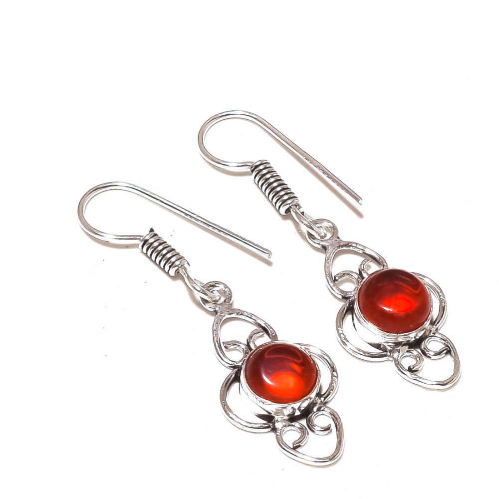 Beautiful Handmade Jewelry Red Garnet Quartz Sterling Silver Overlay Earring 1.75