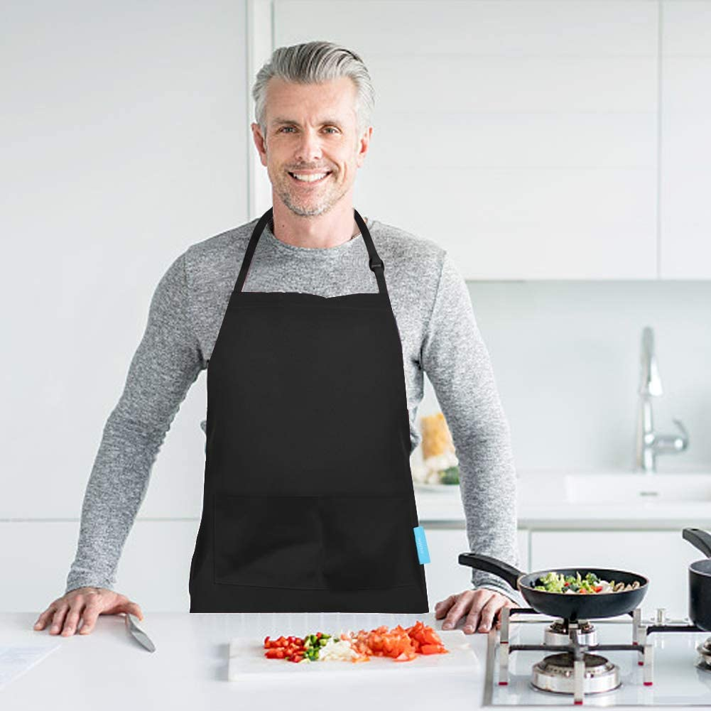 Restaurant Barbecue esafio Tabliers de Cuisine Adultes Tablier de Cuisine en Coton et Polyester avec Ceinture Ajustable et 2 Grandes Poches pour Les Chefs cuisiniers