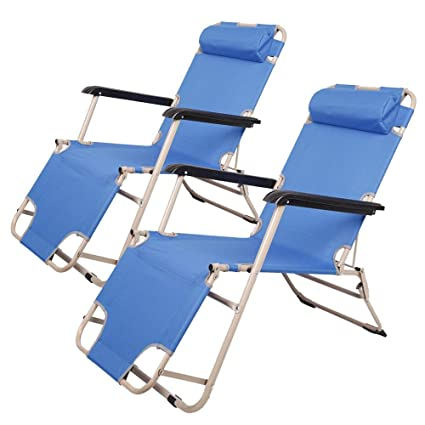 Efficient Portable High Strength Beach Chair With Adjustable Headrest Blue Sports & Entertainment Outdoor Tools