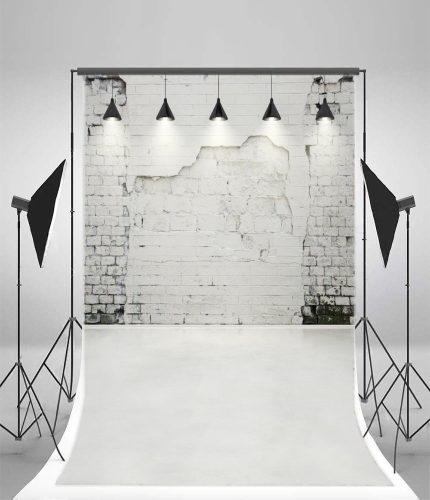 5X7FT Laeacco Vinyl Backdrop Home Decoration Photography Background White Brick Wall Shabby Wall with Lights Smooth Floor Scene Indoor Kitchen Wall Youtube Video Web Live Backdrop Photos Studio Props