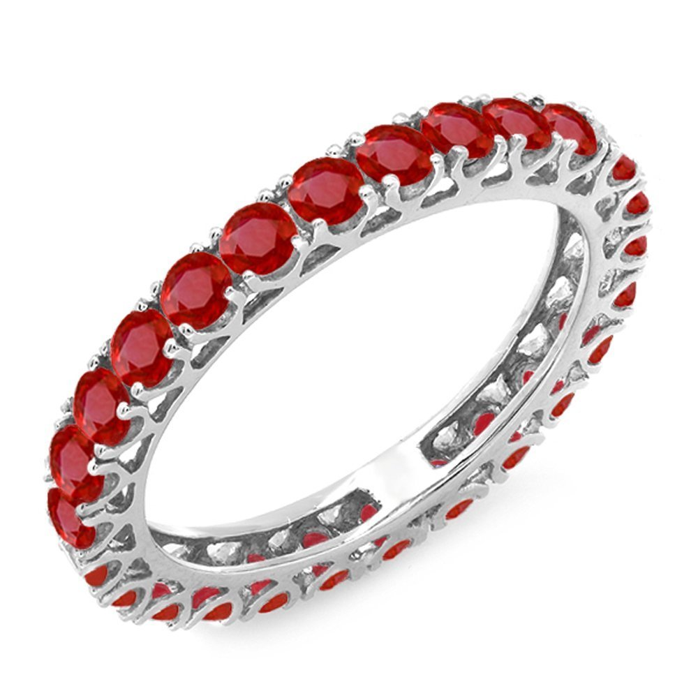 1.80 Carat (ctw) 10K White Gold Round Ruby Ladies Eternity Wedding Stackable Band 1 3/4 CT (Size 6.5)