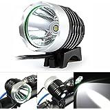 Marsing 自転車ライト+ヘッドライト 6500K LED 高輝度 1000-3000ルーメン マルチモード(2/3段階の光度+ストロボ)機能付き 充電式 4x18650バッテリーとIPX6防水 夜間活動 釣り用