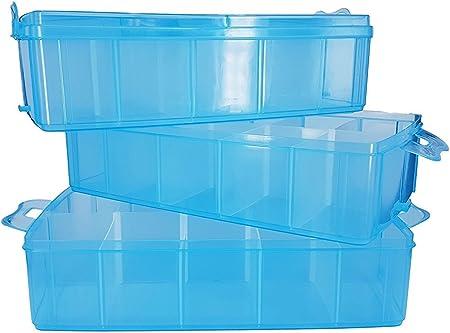 Papimax XXL Minifigure Display Box 3 apilable Almacenamiento 30 Compartimentos 27 divisores Caja Clara Azul Rosa (Azul): Amazon.es: Hogar