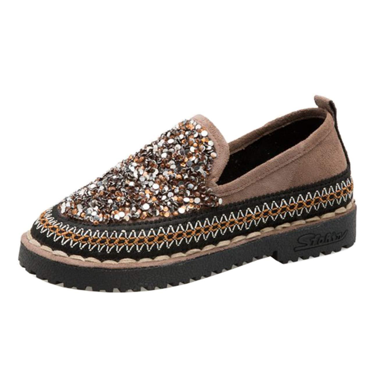 Mashiaoyi Womens Casual Flat Diamond Loafers
