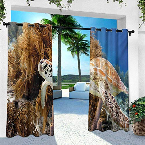 leinuoyi Turtle, Outdoor Curtain Extra Wide, Coral Reef and Sea Turtle Close Up Photo Bonaire Island Waters Maritime, Balcony Curtains W120 x L96 Inch Pale Coffee Brown Blue