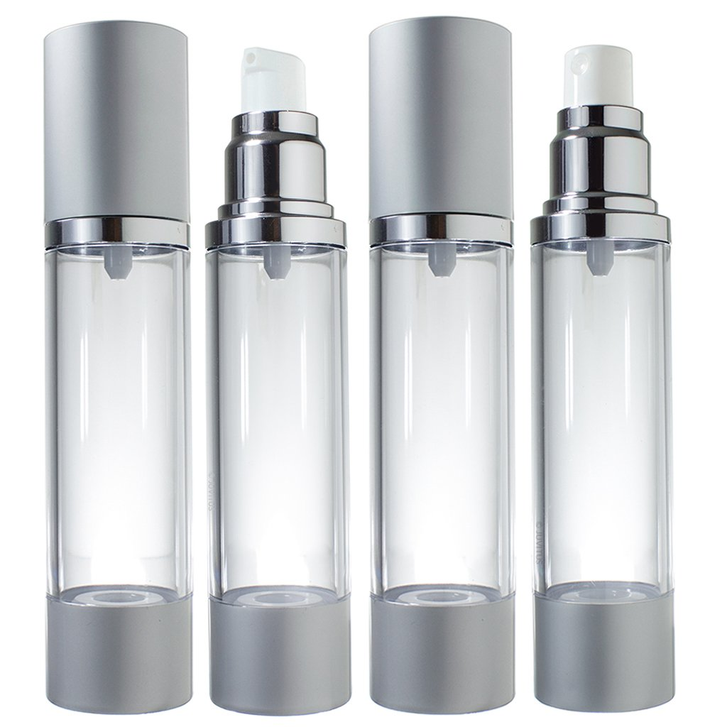 Airless Pump and Spray Bottle Refillable Travel Set – 1.7 fl oz 4 Pack- 2 Each Spray and Pump