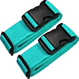 TRANVERS Luggage Straps for Suitcase Belt Heavy Duty Adjustable 2-Pack Lake Blue