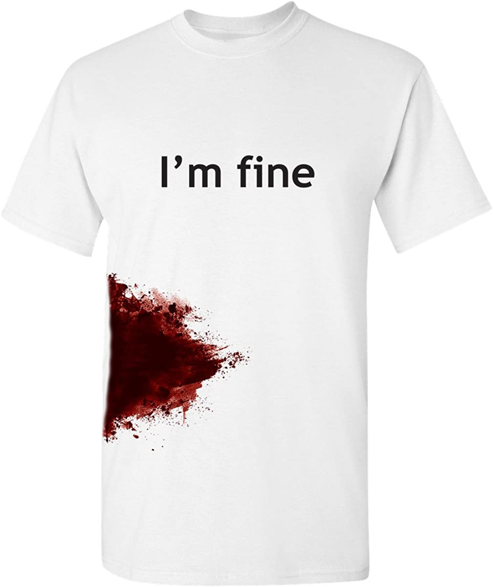 I'm Fine Graphic Novelty Sarcastic Movie Slash Humor Zombie Funny T Shirt