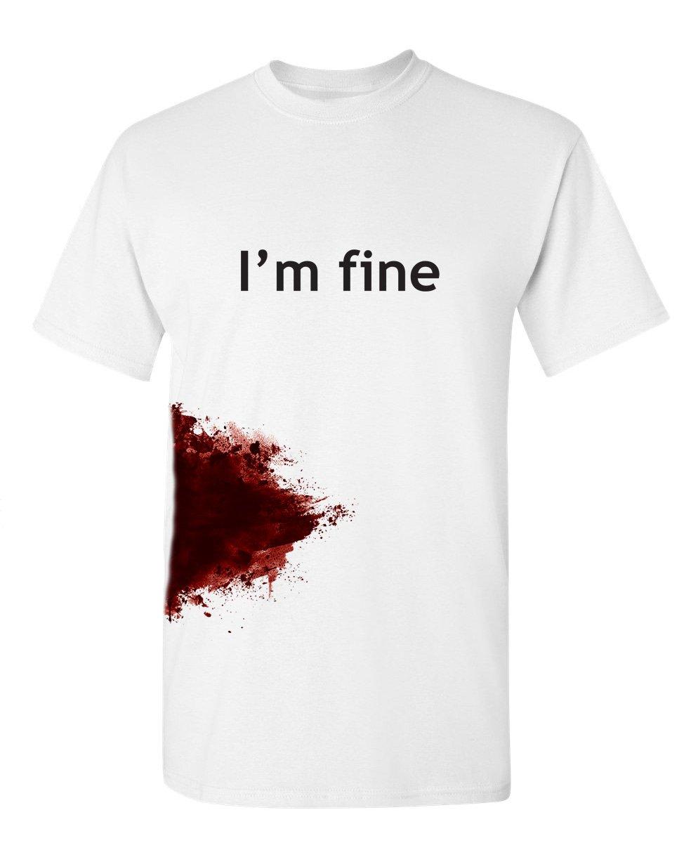 I'm Fine Graphic Zombie Slash Movie Halloween Injury Novelty Cool Funny T Shirt L White