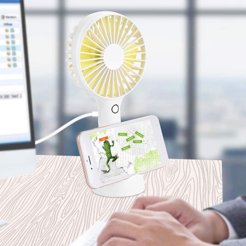 Color : White USB Personal Fans Rechargeable Battery Powered Fan with 4 Speeds for Home Office and Outdoor Travel Mini Handheld Portable Fan