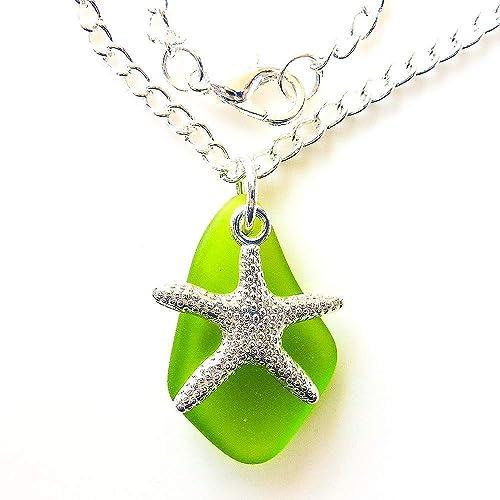green sea glass pendant nautical jewelry Green sea glass necklace unique necklace handmade jewelry green jewelry green sea glass