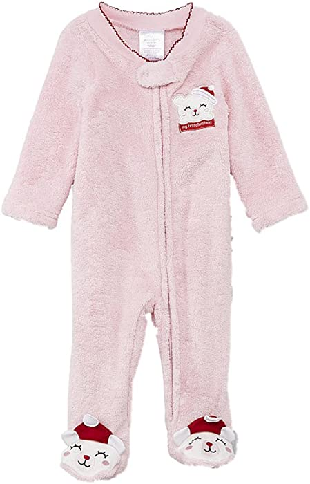 647d3f6c3 Amazon.com  Infant Girls Plush Pink Baby s 1st Christmas Holiday ...