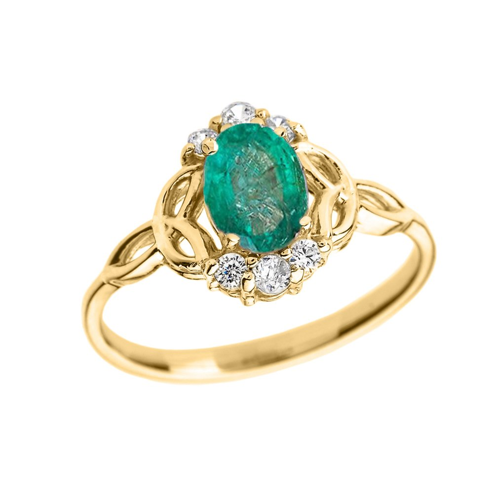 Elegant 14k Yellow Gold Diamond Trinity Knot Proposal Ring with Genuine Emerald (Size 6.5)