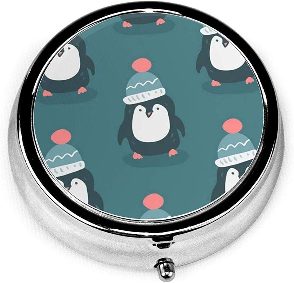 Pastillero redondo con 3 compartimentos; Viajes Pastillas Caja Animal Feliz Navidad Pingüinos Bebé Pájaro Personaje Dibujos Animados Celebración