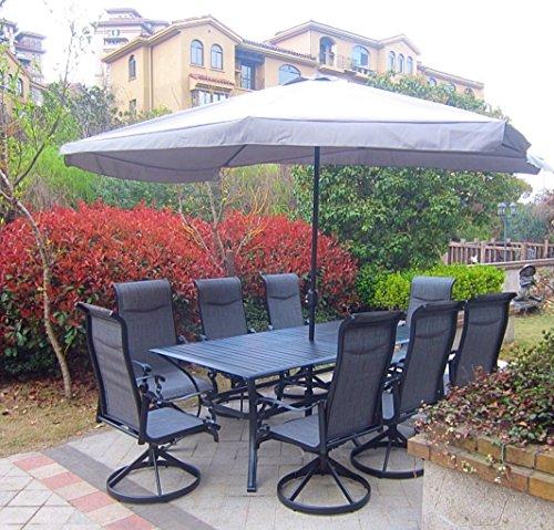 9pc cast aluminum patio dining furniture set with umbrella