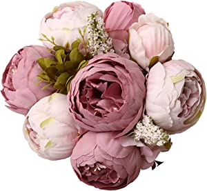 Jyi Hope Vintage Artificial Peony Silk Fake Flowers Peonies Bouquet for Home Wedding Party Decoration (New Bean Pink)