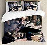 Gothic Twin Duvet Cover Sets 4 Piece Bedding Set Bedspread with 2 Pillow Sham, Flat Sheet for Adult/Kids/Teens, Portrait of Steampunk Woman with Medieval Vintage Outfit Historic Fashion Art Photo
