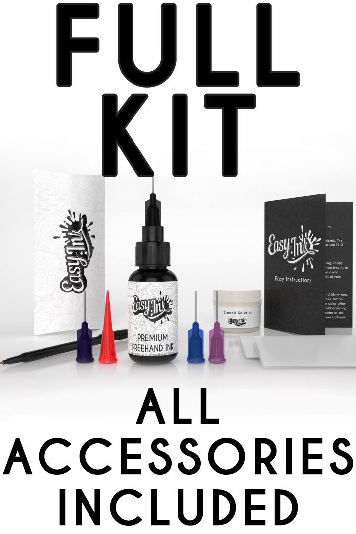 Easy.ink - Freehand Ink, Premium Quality Temporary Tattoo Ink Full Kit, Natural & Long Lasting (Organic Jagua fruit Based Ink/Gel), No Added Chemicals. Black/Dark Blue. Semi-Permanent Tattoo Ink 1oz