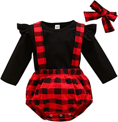US Christmas Newborn Baby Girl Plaid Clothes Ruffle Romper Jumpsuit Dress Outfit
