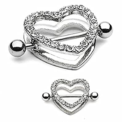 Amazoncom Body Accentz Nipple Ring Bars Rhinestone Heart Circle Of