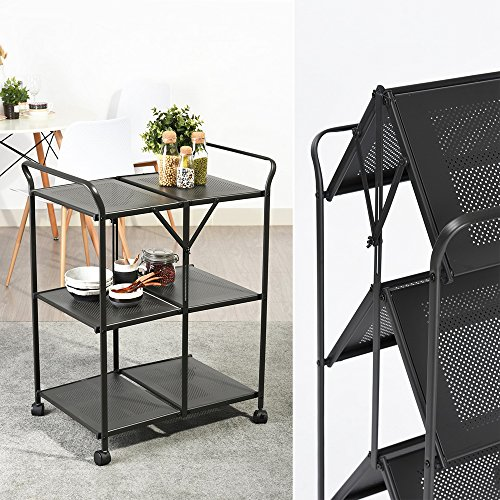 3-Tier Rolling Serving Cart Foldable Utility Kitchen Trolley Storage Space Saving Food Cart Mobile Metal Frame Indoor and Outdoor Cart, Black by HOMY CASA