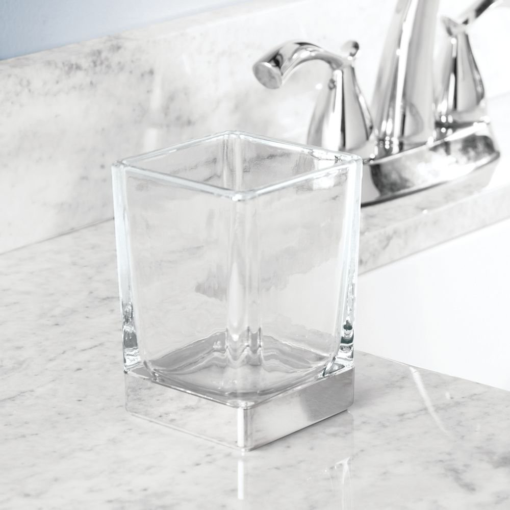Clear//Chrome InterDesign Casilla Divided Toothbrush Holder for Bathroom Vanity or Countertop