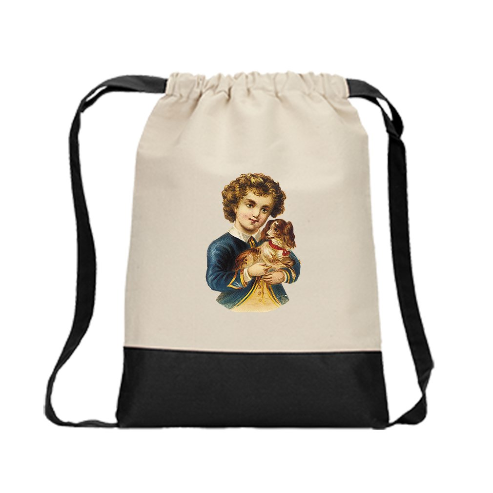 Backpack Color Drawstring Boy In Navy Jacket With Puppy Animals | Black