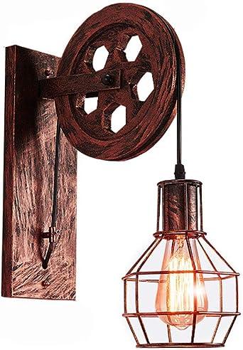 Vintage Industrial Lámpara Luces De Pared,retro Pasillo Escaleras Luces E14 Entrada Lámpara Decoración Del Hogar Interior Iluminación Accesorio Lámpara De Pared A 15x30x24cm(6x12x9inch): Amazon.es: Iluminación