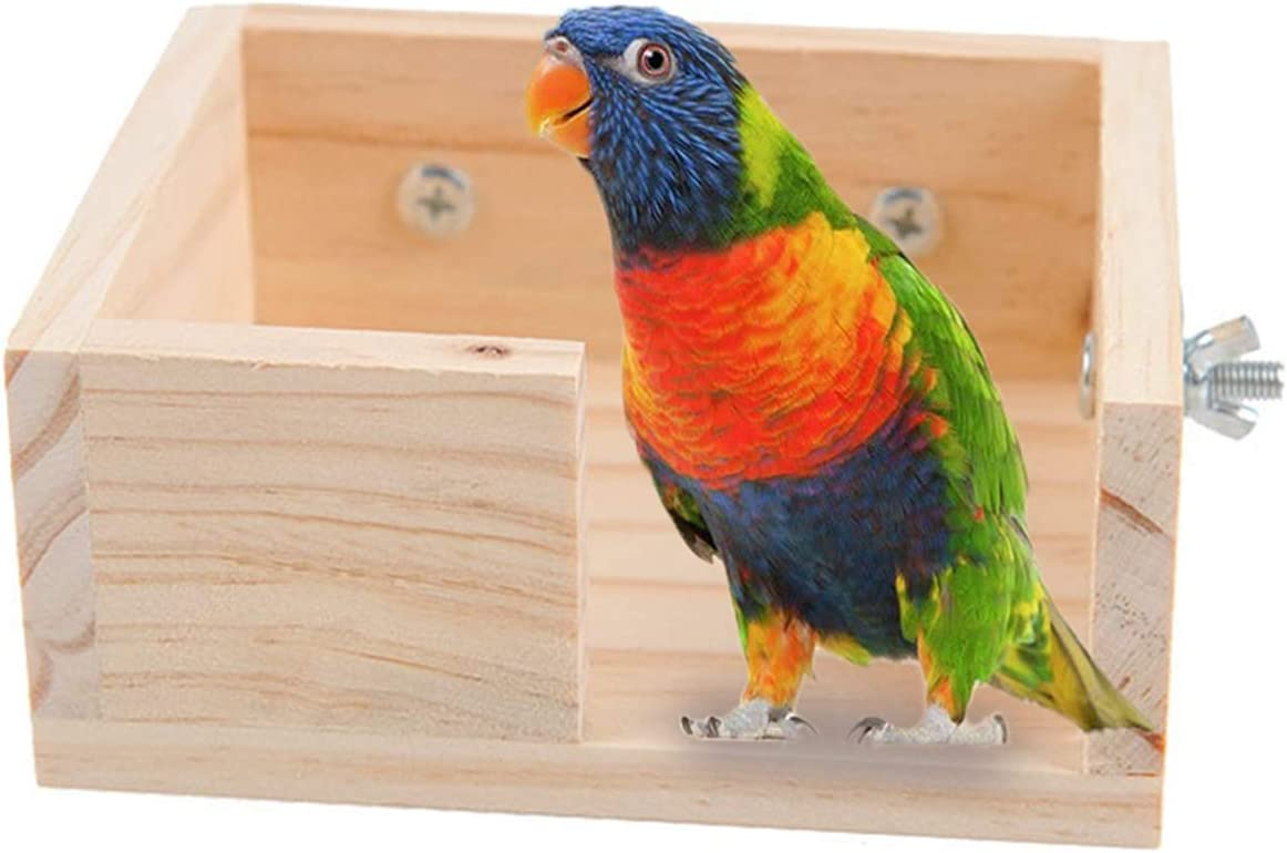 Small Animal Bird Perch Cage Stand Platform Food Feeder Brid Small Pet Bird Parakeet Parrot Playground Corner Desk Stands for Gerbil Hamster Budgie Cockatiel Parrot Rat Parakeet Wood Stand Accessories