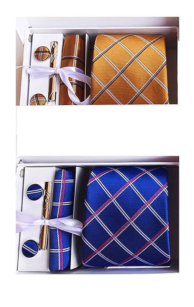 MENDENG Mens Gold Blue Necktie Pocket Square Hanky Cufflinks Tie Clip Sets of 2